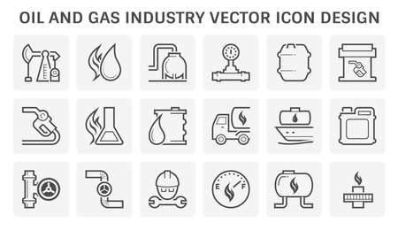 Oil and gas industry vector icon set design.