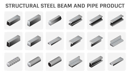 Structural steel beam and pipe product vector icon design.