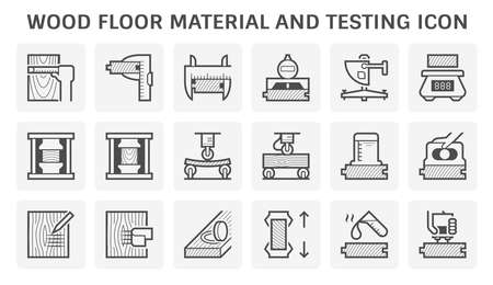 Wood floor material and testing vector icon set design. Illustration