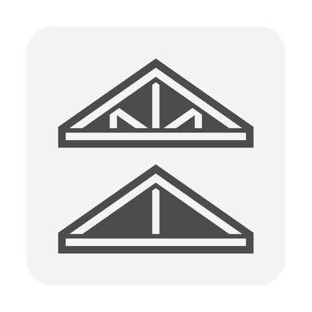 Roof truss structure or frame work for house vector icon design. Illusztráció