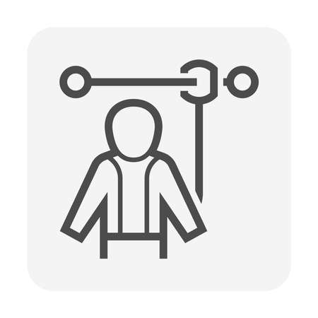 Safety harness or safety equipment or personal protective equipment vector icon design.