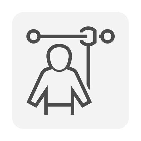 Safety belt or safety equipment or personal protective equipment vector icon design. Иллюстрация