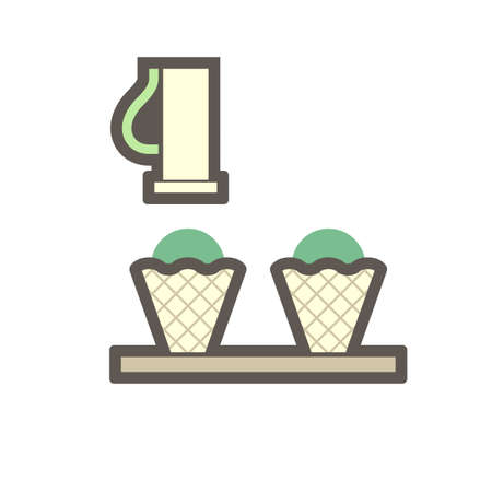 Machine fill ice cream in cone in food processing production vector icon design on white background.