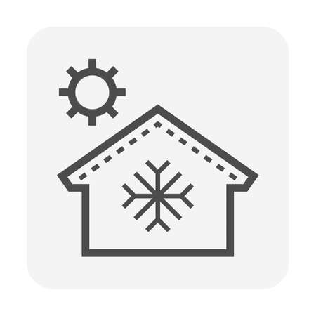 Roof tile and thermal insulation for house to show prevent heat temperature from the outside, vector icon design.