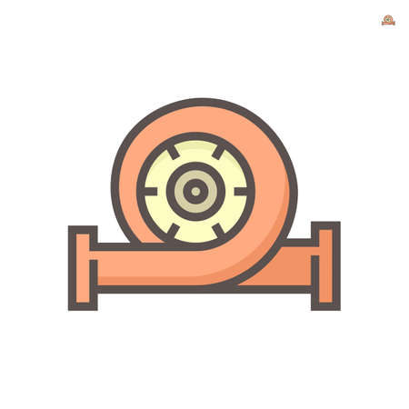 Water pump vector icon or centrifugal pump. Powered by electric motor or engine. For industrial, water supply infrastructure, wastewater treatment, water cooling, irrigation and plumbing. 64x64 px.  イラスト・ベクター素材