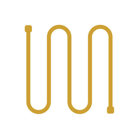 Copper coil pipe or tube icon. For transfer liquid, gas i.e. hot water in water heating, beer in brewing, also refrigerant in air conditioning HVAC system to cooling, moisture and heat ventilation. Vector Illustration