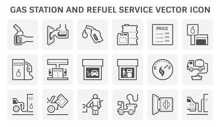 Gas station icon. Also called service station or petrol station to sells fuel and gasoline for car and motor vehicles. Including with worker, fuel dispenser, tank, building, level gauge and vehicle.
