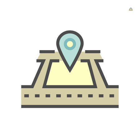 Land gps location vector icon design, 64x64 pixel perfect and editable stroke. Ilustração