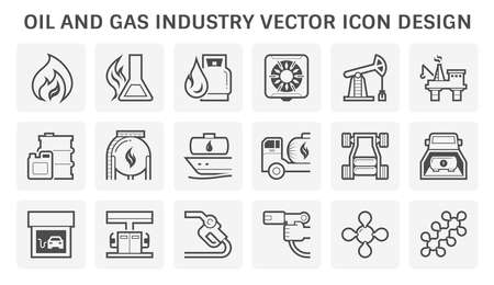 Oil and gas industry include the global process of exploration extraction refinery transportation by oil tanker and pipelines and marketing of petroleum products, Vector illustration icon set design. Ilustração