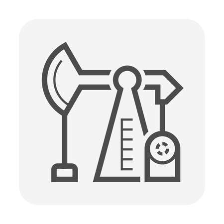 Oil pump icon or pumpjack icon that installation on an oil well used for onshore wells production and extract crude oil. Crude oil is raw natural resource refined into gasoline, fuel. Vector icon. Ilustração