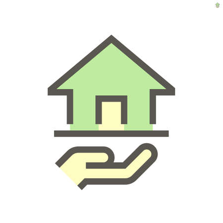 Real estate broker, agent or realtor vector icon. Consist of home building or residential, hand of salesperson. That professional to seller, buyer and rent of real estate or real property.