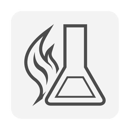 Petroleum laboratory research vector icon. Consist of test tube, flask or beaker, flame of fuel, liquid sample i.e. crude oil, gas, biodiesel, diesel, gasoline, petrol, ethanol. Production industry. 版權商用圖片 - 165925286