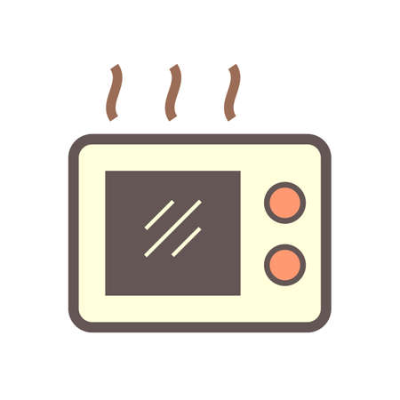Microwave oven or electric oven vector icon. kitchenware, appliance or household with timer control button for cooking, baking, heating food by technology in kitchen of home, hotel, office, restaurant 向量圖像