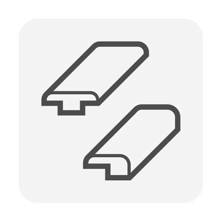 Floor transition moulding vector icon. Consist of threshold moulding and reducer. Edging or strip of wood, metal, aluminium to cover expansion gap i.e. wood, tile or carpet floor in room and doorway. Illustration