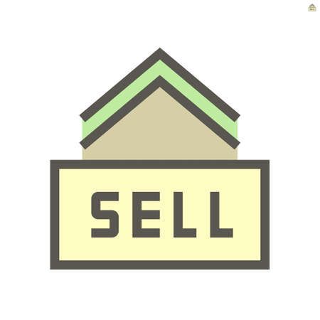 Home, real estate or property for sale vector icon. Include sign, building.