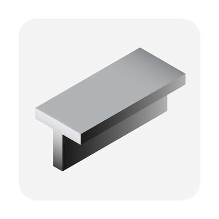 Steel product icon. T channel profile shape alloy of iron from steel production industry and metallurgy used as beam, bar, frame, girder, structure in engineering, construction building material
