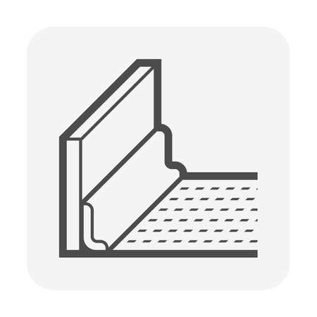 Baseboard vector icon. Also called skirting board, mopboard, floor or base molding. Use for cover lowest or plinth part of an interior wall on floor finishing material i.e. linoleum, pvc, vinyl, wood.