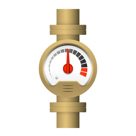 Pressure gauge or manometer icon. Also called pressure meter or vacuum gauge. Device is a pressure measurement used to measure and display pressure. Include flange fitting for connection with pipeline