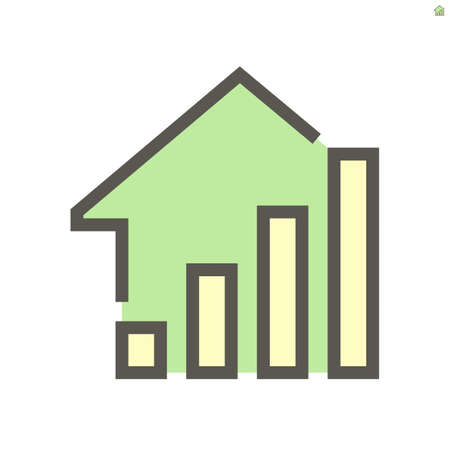 Increase bar chart or bar graph, home, house or apartment vector icon. To show trend, rate, info, value, progress or profit in positive direction. For concept of property, real estate. 48x48 pixel.