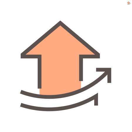 Increase arrow, home, house or apartment vector icon. To show trend, rate, info, value, progress or profit in positive direction. For concept of property, real estate, investment, sale, buy. 48x48 px. 向量圖像