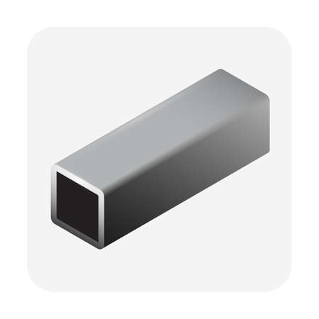 Steel or iron pipe product vector icon. Hollow structural section or square profile shape of alloy of iron from steel production industry and metallurgy. For material in engineering construction. Çizim