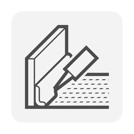 Sealants in construction work vector icon. That substance used to caulking and prevent fluids through the joints. 向量圖像