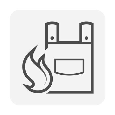 Leather welding apron icon. Also called fire resistant clothing or blacksmith apron. That cover front of body to protect and shields welder or blacksmith from heat, fire, burn and radiation.