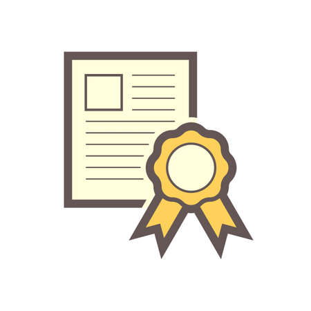 Certificate or professional certification vector icon. Consist of medal, paper or document. To warranty or guarantee skill, qualification, degree, education, achievement and quality of worker, person.