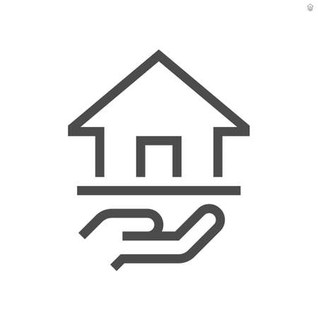 Real estate broker, agent or realtor vector icon. Consist of home building or residential, hand of salesperson. That professional to seller, buyer and rent of real estate or real property. 48x48 px.