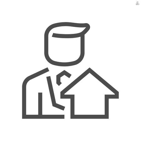 Real estate broker, agent or realtor vector icon. Consist of home building or residential, salesperson or person or man. That professional to sell, buy of real estate or real property. 48x48 pixel. Ilustração