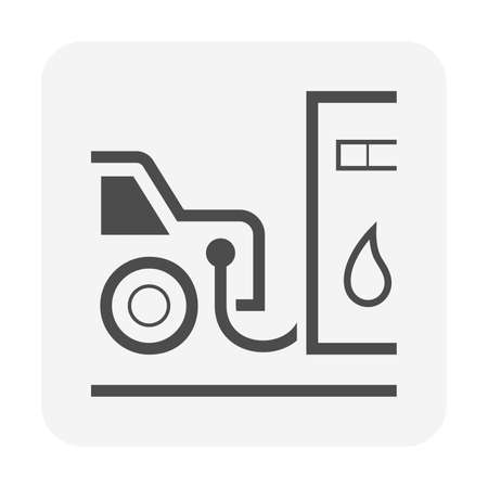 Fuel nozzle and dispenser icon. Device connect to pump and fuel dispenser by flexible hose for refueling car or vehicle in petrol, gas or filling station, i.e. gasoline, diesel, benzine. Vector icon.