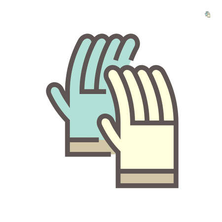 Leather gloves or welding gloves icon. Item is a personal protective equipment (PPE) to protect hands of welder from hazard of welding, cutting and grinding. With heat resistance material. 64x64 pixel