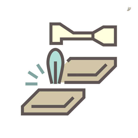 Metal cutting icon. Also called oxy-fuel cutting. By using fuel gas and oxygen to cut metal. Consist of cutting torch or blowtorch and metal workpiece. For metalworking and construction. 64x64 px icon Vector Illustration