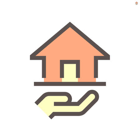 Real estate broker, agent or  vector icon. Consist of home building or residential, hand of salesperson. That professional to seller, buyer and rent of real estate or real property. 48x48 px.