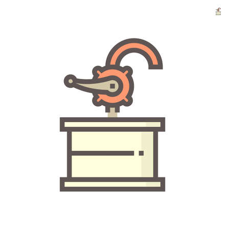 Hand rotary oil pump icon. Also called hand rotary drum pump or hand crank rotary pump. Including with handle, rotary pump, pipe and barrel storage tank. Vector illustration icon design.