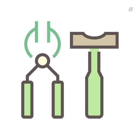 Black smith tong and hammer icon. That is hand tool for metalwork. Tong used to grip and lift object instead of holding them. Hammer use to impact at small area. For forging and welding. 64x64 pixel. 向量圖像
