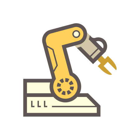 Robotic arm, industrial robot system vector icon. Consist of mechanical arm, electronic, hydraulic. Control by automation technology. For industry i.e. assembly, manufacturing, cnc, production process 版權商用圖片 - 162531950