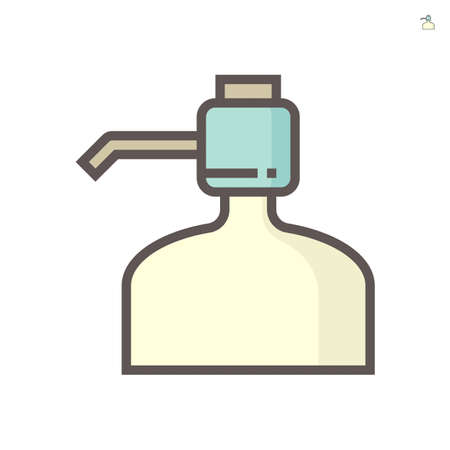 Manual drinking water pump icon. Also called bottled hand press portable pump dispenser. Including with press button and pipe for using at home, kitchen, office and outdoor. 64x64 pixel perfect icon.