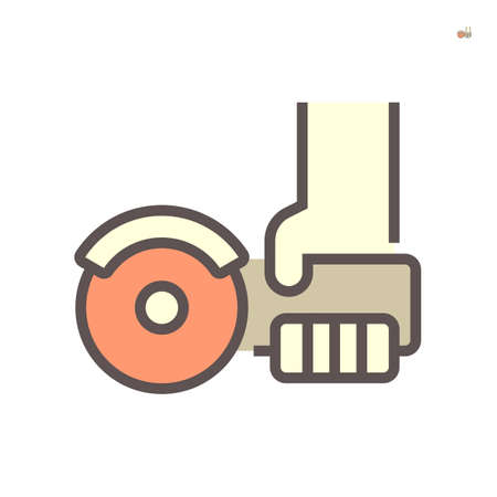 Angle grinder icon. Also called side grinder or disc grinder. Device is handheld power tool with motor used for grinding ,abrasive cutting and polishing i.e. welding and metalworking. 64x64 px icon.