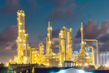 Oil refinery plant and industrial factory building construction from engineering technology and steel material such as steel structure, metal, valve control, pipe, pipeline for transport oil and gas.