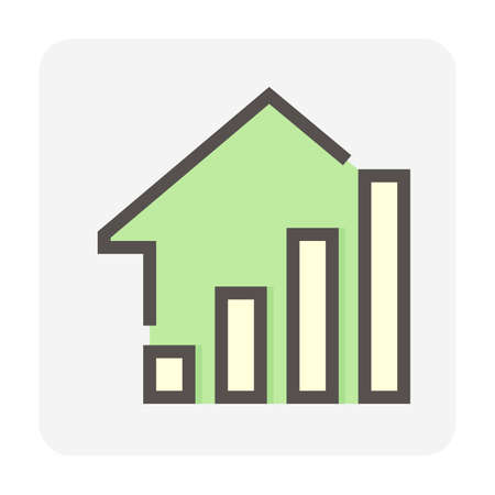 House price or value increase vector icon. Consist of home or house building, growth graph. Rate of real estate or property for development, owned, sale, rent, buy, purchase or investment. 48x48 px. Vektoros illusztráció