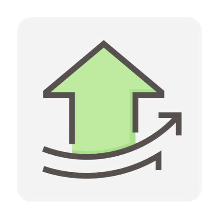 House price or value increase vector icon. Consist of home or house building, growth graph. Rate of real estate or property for development, owned, sale, rent, buy, purchase or investment. 48x48 px.