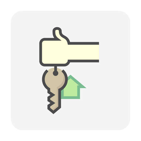 House sale, buy concept vector icon. Consist of hand holding keyring or keychain, home or house sign and ring for real estate or property to lock, unlock, open door of building for security. 64x64 px.