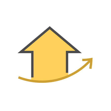 House price or value increase vector icon. Consist of home or house building, growth graph. Rate of real estate or property for development, owned, sale, rent, buy, purchase or investment. 64x64 px. Vektoros illusztráció