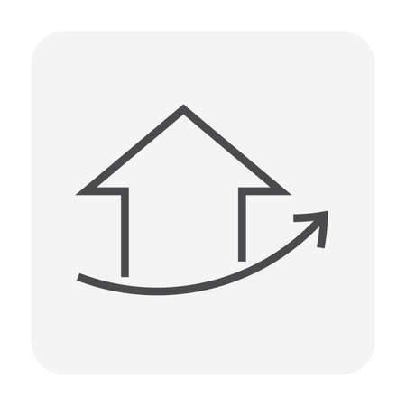 House price or value increase vector icon. Consist of home or house building, growth graph. Rate of real estate or property for development, owned, sale, rent, buy, purchase or investment. 64x64 px.