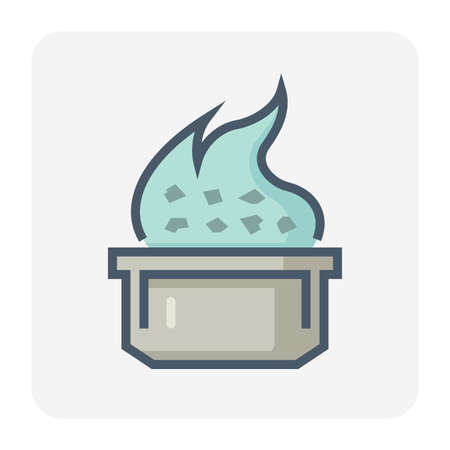 Smelting burning or heating vector icon. Consist of ore, fire and crucible. Process for casting in metallurgy or metallurgical production industry. In foundry, furnace or factory plant. 64x64 pixel.