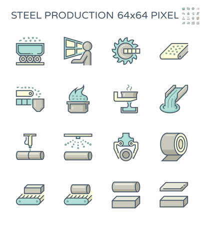Metallurgy production industry vector icon. Steel mill or steelworks consist of worker, machine equipment of factory or industrial plant for hot casting process or manufacturing of metal, steel, iron.