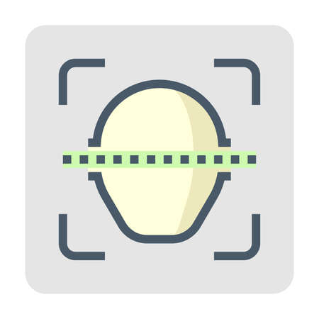 Biometric facial recognition system vector icon. Security or identification technology. That person face scanning to find someone, verification and identify user to unlock access data. 48x48 pixel.