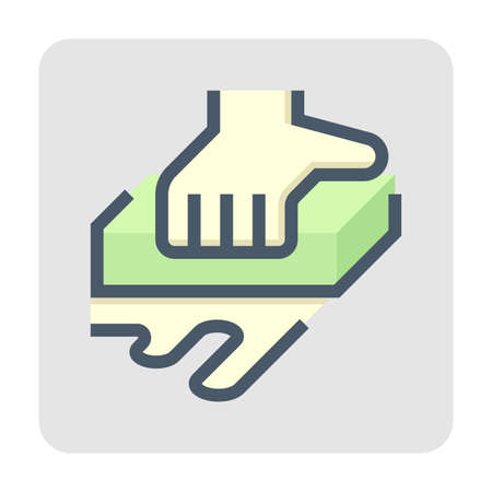 Car wash or carwash vector icon. Consist of sponge, hand of worker. Car care service for dirty auto or vehicle to cleaning exterior before detailing by using tool to wiping, rubbing. 48x48 pixel. Vetores