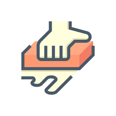 Car wash or carwash vector icon. Consist of sponge, hand of worker. Car care service for dirty auto or vehicle to cleaning exterior before detailing by using tool to wiping, rubbing. 48x48 pixel.